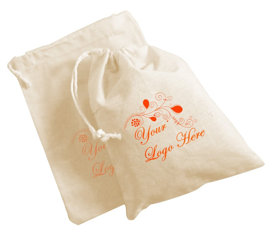 Printed Calico Drawstring Bags