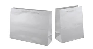 White Paper Gloss Laminated Carry Bags