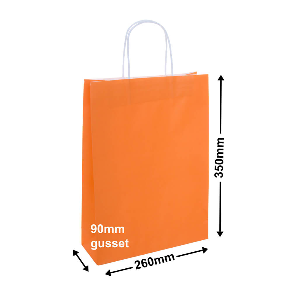 Paper Carry Bag Orange<br> 260 x 350 + 90