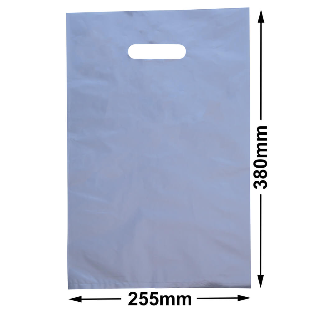 Medium Plastic Carry Bag<br>Silver 255 x 380 *Pack 100*