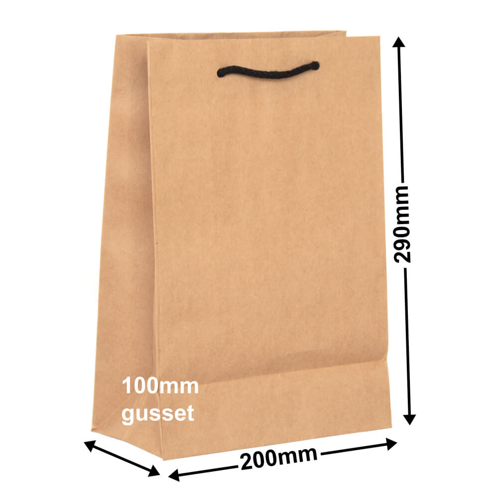 Brown Deluxe Paper Bags<br>200mm x 290mm Pack 50