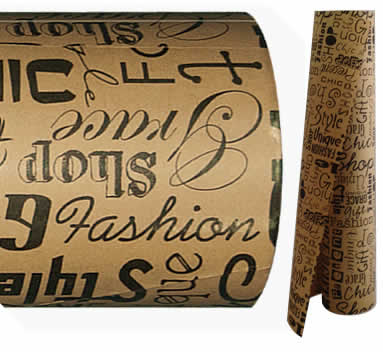 Brown Text Print Paper<br>Bulk 50m gift wrapping<br> *WHILE STOCKS LAST*