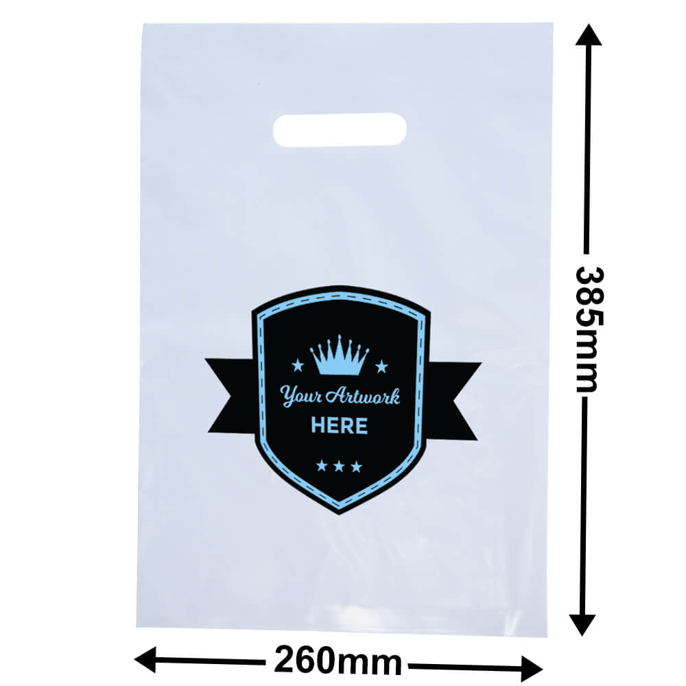 Medium White Plastic Carry Bag Printed 2 colour 1 side
