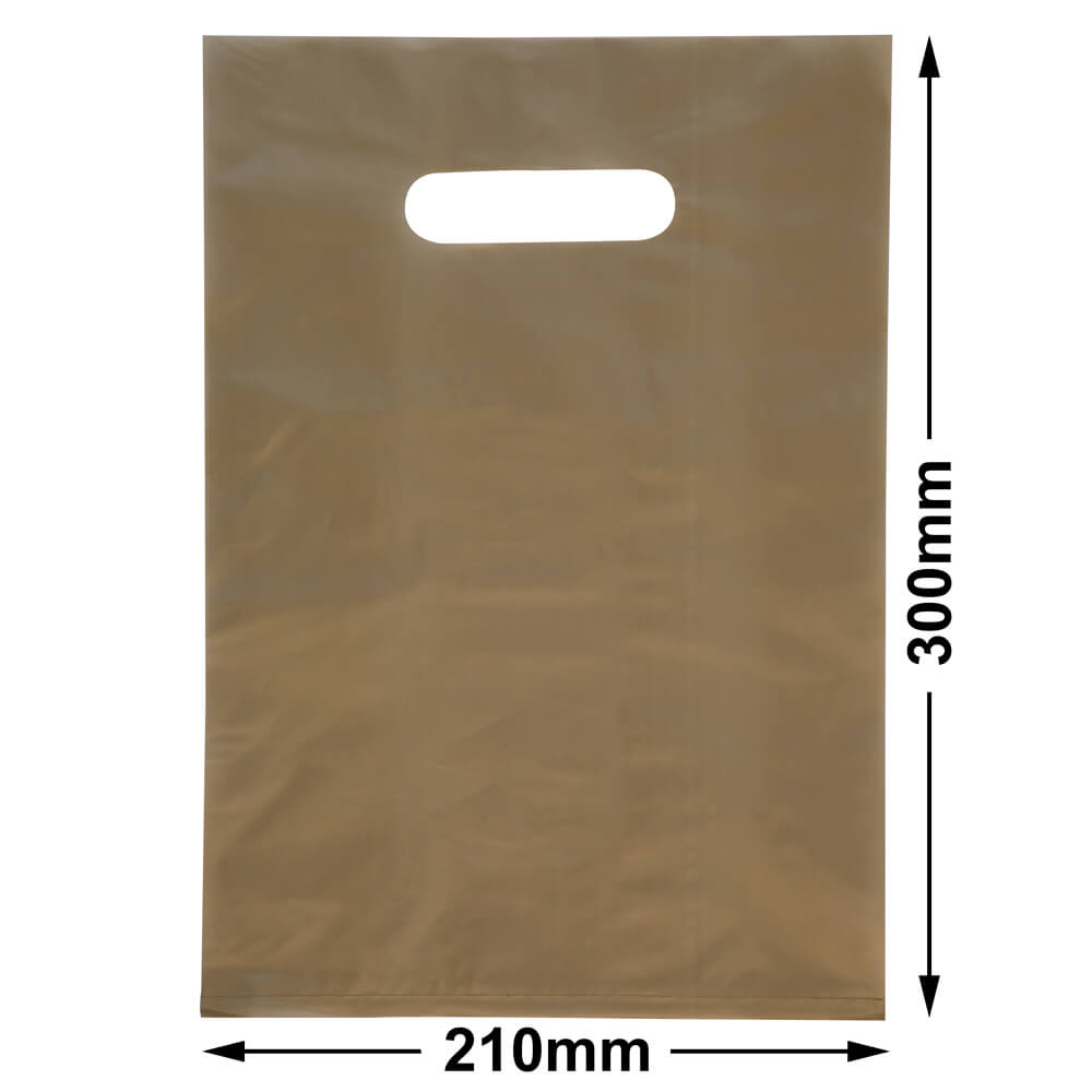 Small Plastic Carry Bag<br>Gold 210 x 300 *Pack 100*