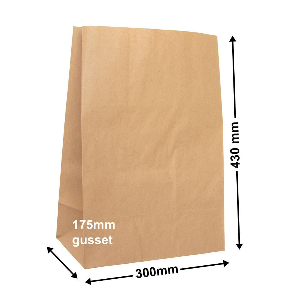 Brown Paper Grocery Bags<br>Size 5 300 x 430 *Carton 250*