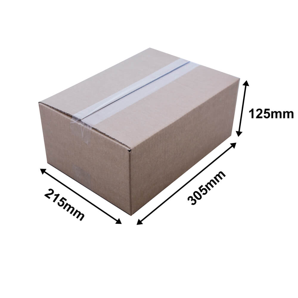 Brown cardboard carton L 305 x W 215 x H 125mm