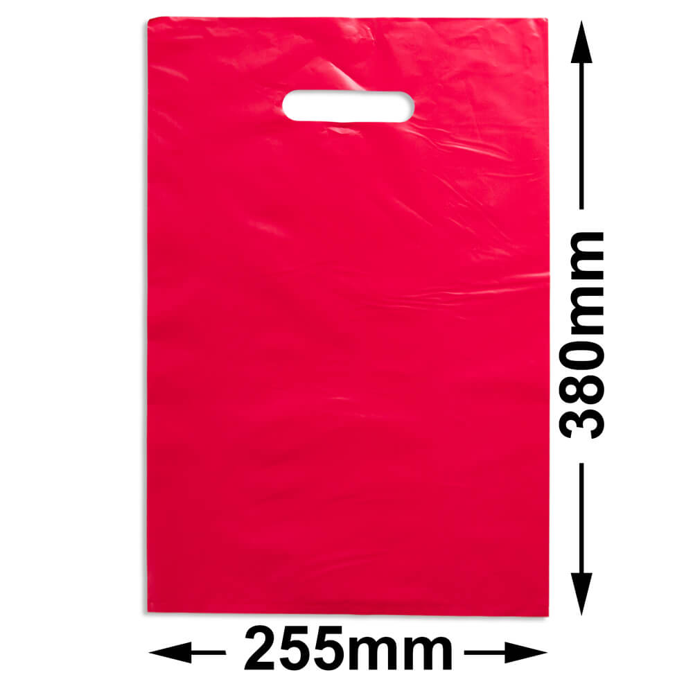 Medium Plastic Carry Bag<br>Red 255 x 380 *Pack 100*