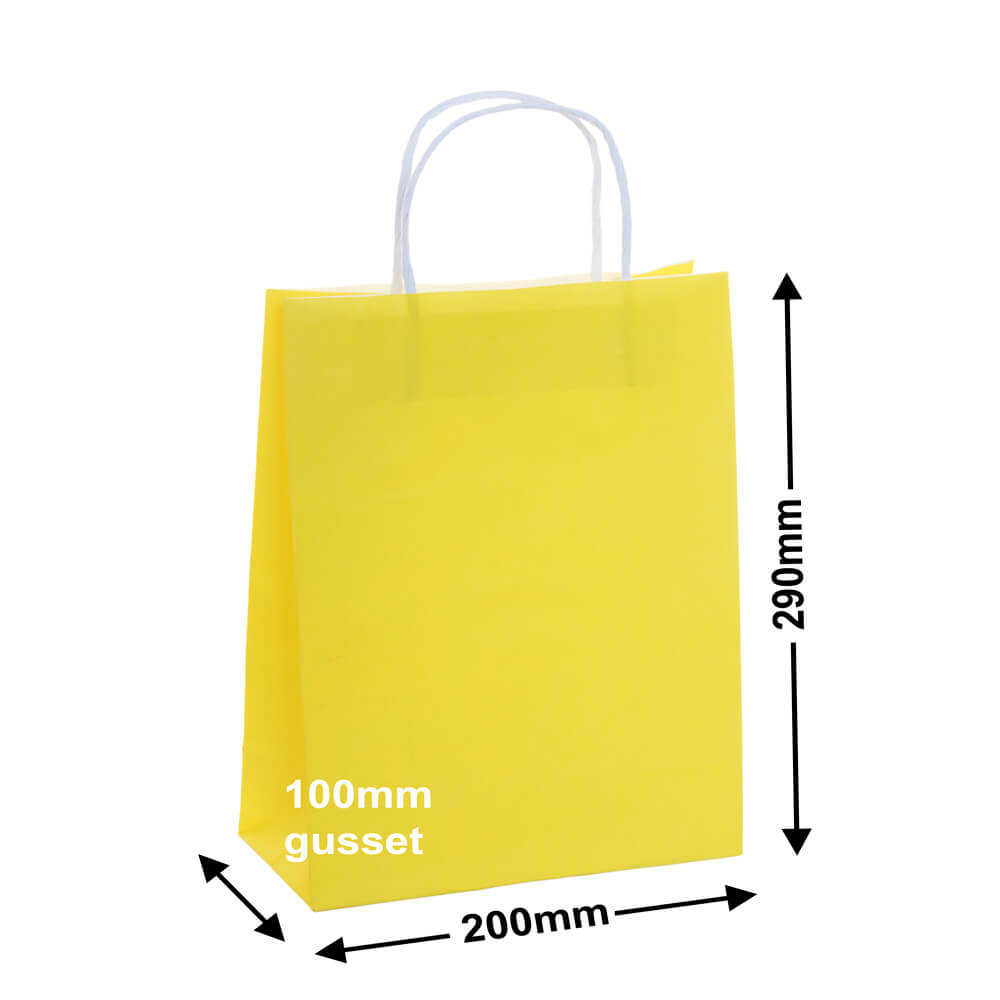 Paper Carry Bag Yellow<br>200x290 +100