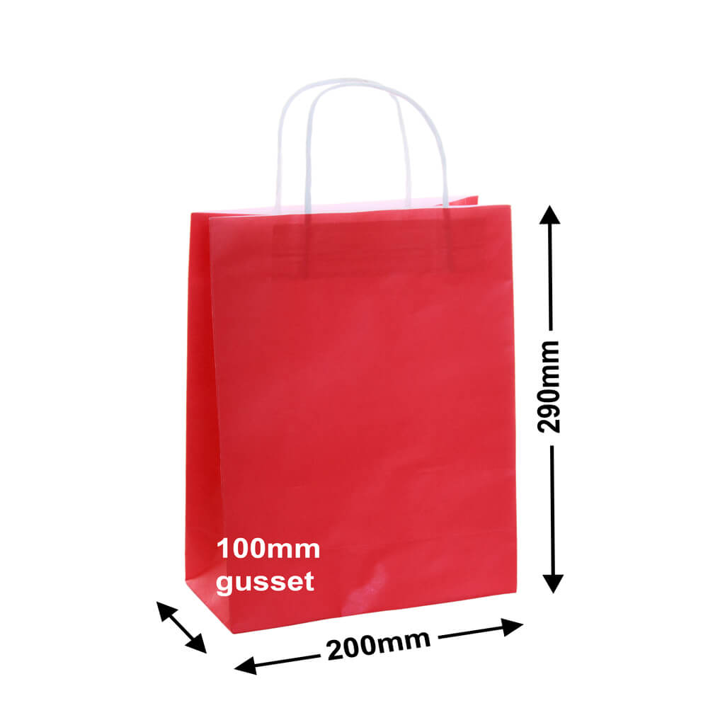 Paper Carry Bag Red<br>200x290 + 100