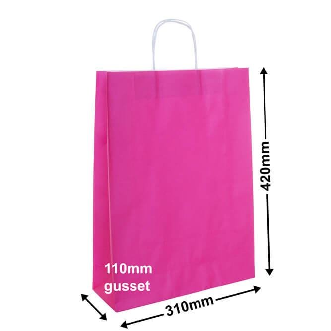 Paper Carry Bags Pink<br>310x420 + 110