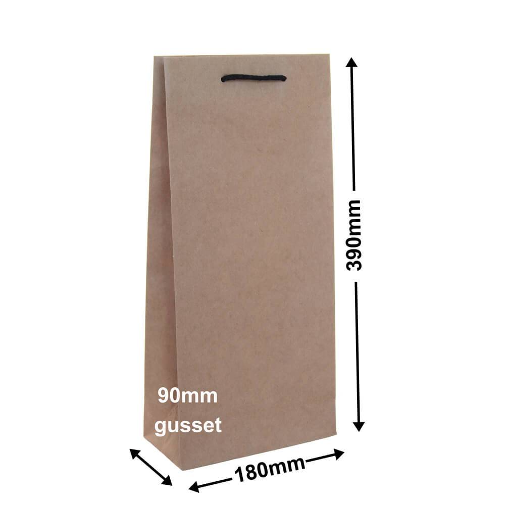 Double Kraft Paper Wine Bag 180mm x 390mm (PACK20)