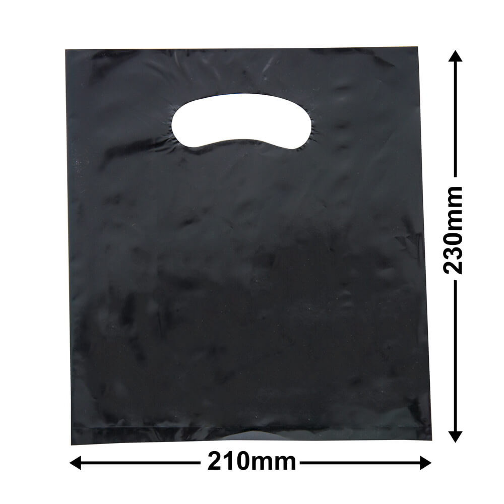 X Small Plastic Carry Bag<br>Black 210 x 230 *Pack 100*