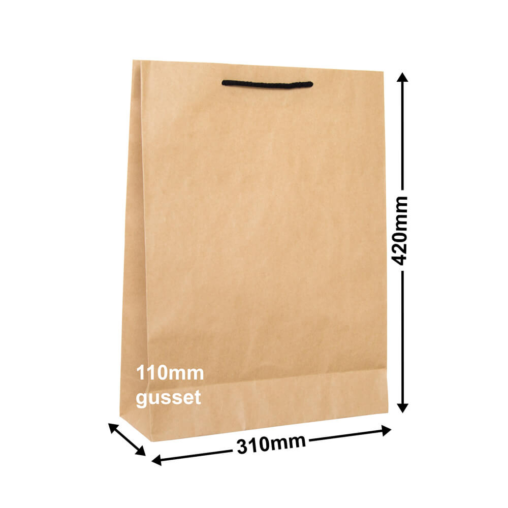 Brown Deluxe Paper Bags<br>310mm x 420mm Pack of 50