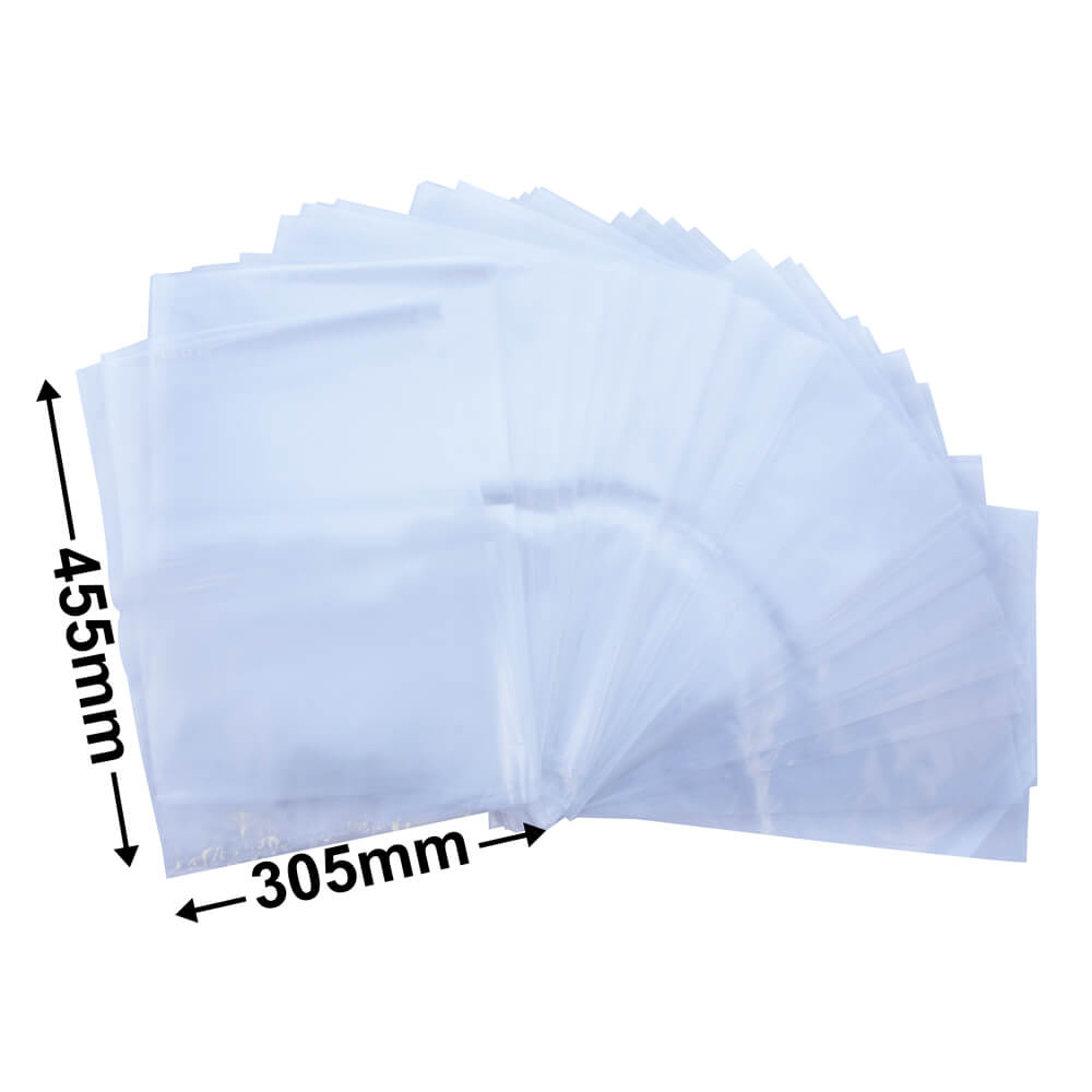 Plastic poly bag clear<br>305 x 455 50um