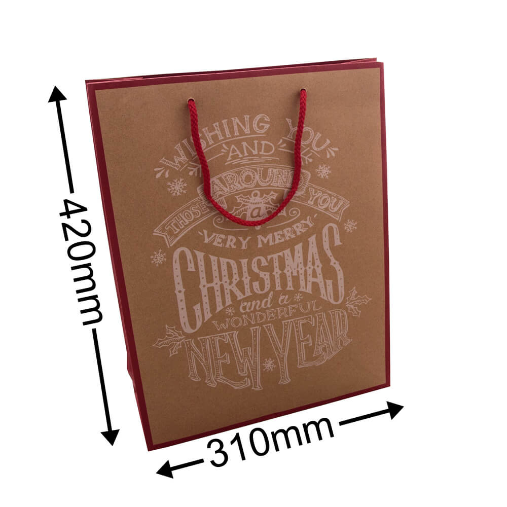 Christmas Paper Bag<br>Banner Red Medium