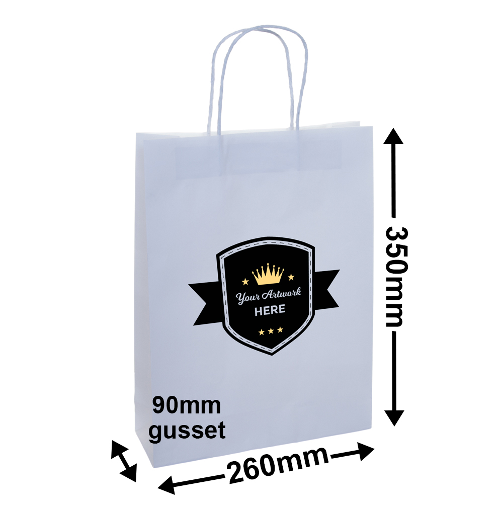 PAPER BAGS WITH HANDLES<br>Printed 2 Colours 2 Sides