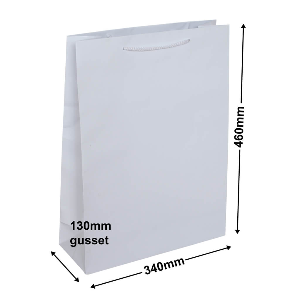 White Large Gloss Bag<br>340 x 460 *Carton 100*
