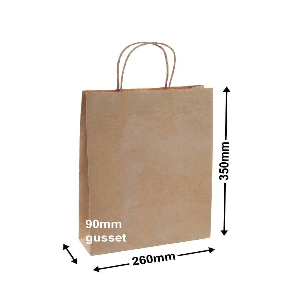 Brown Paper Carry bags<br>260 x 350 - *Pack 50*