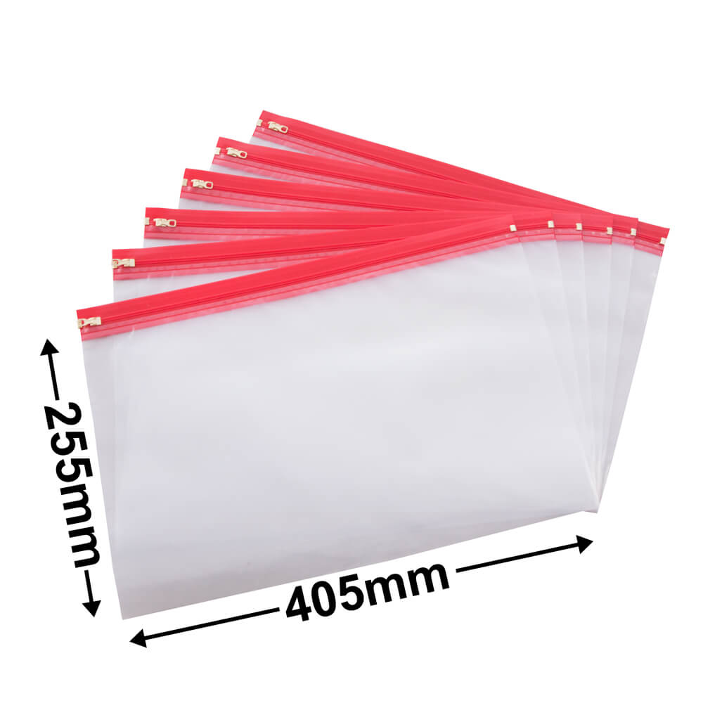 Zipper Plastic Bag Wallet<br>255 x 405mm (10 x 16