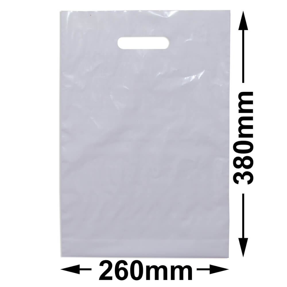 Medium Plastic Carry Bag<br>White + Gusset *Pack 100*