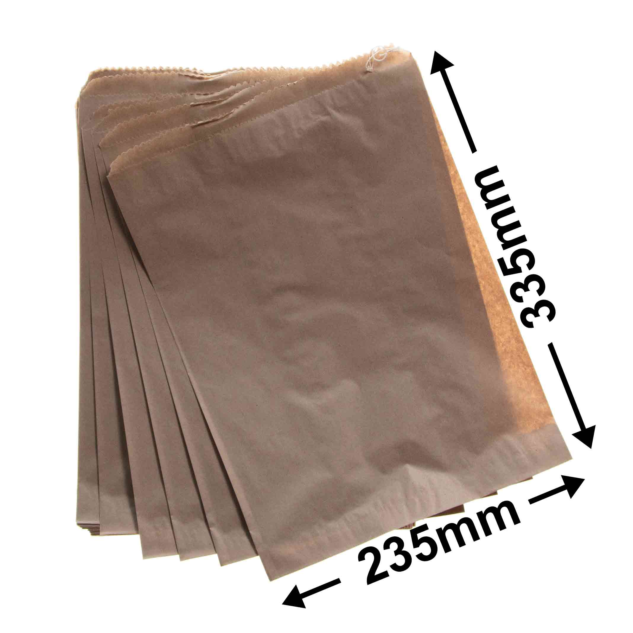 Flat Brown Paper Bags<br>235 x 335 *Pack 500*