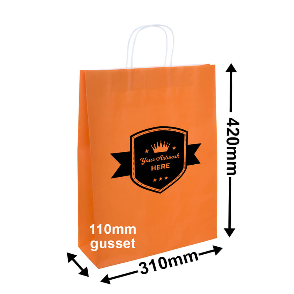PAPER BAGS - 8 COLOURS<br>1 COLOUR 2 SIDES