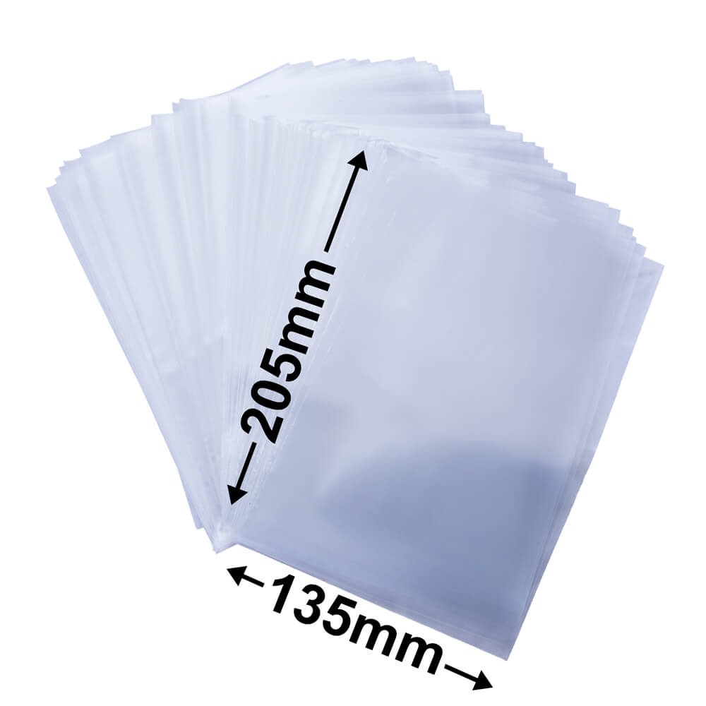 Plastic poly bag clear<br>135 x 205 50um