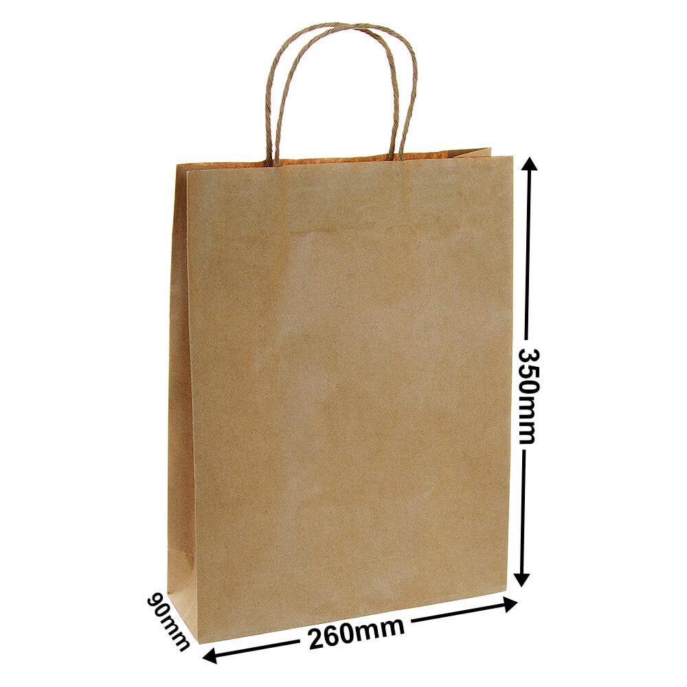 Brown Paper Carry bags<br>260 x 350 - *Carton 250*