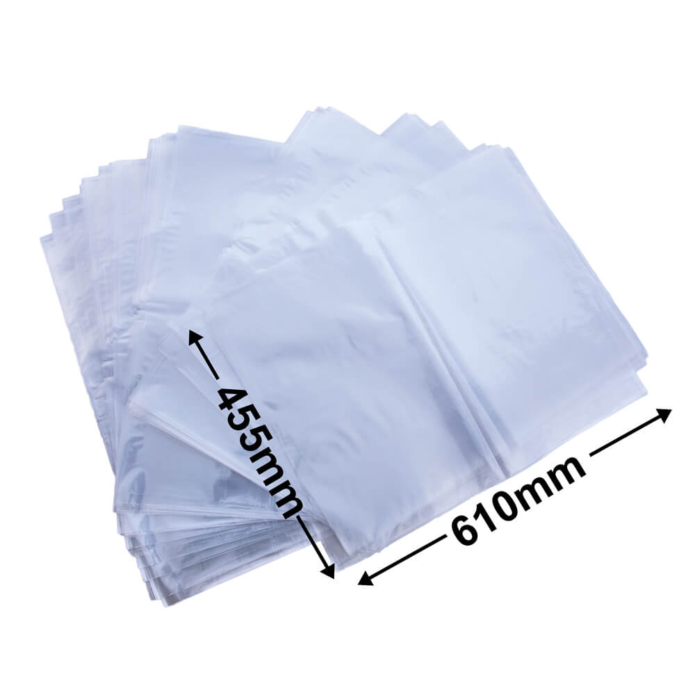 Plastic poly bag clear<br>455 x 610 35um