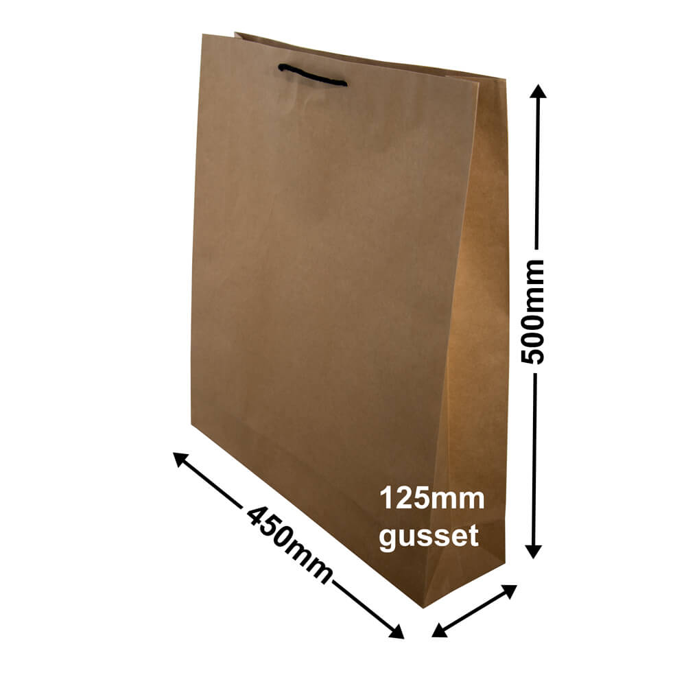 Brown Deluxe Paper Bags<br>450mm x 500mm Pack 50