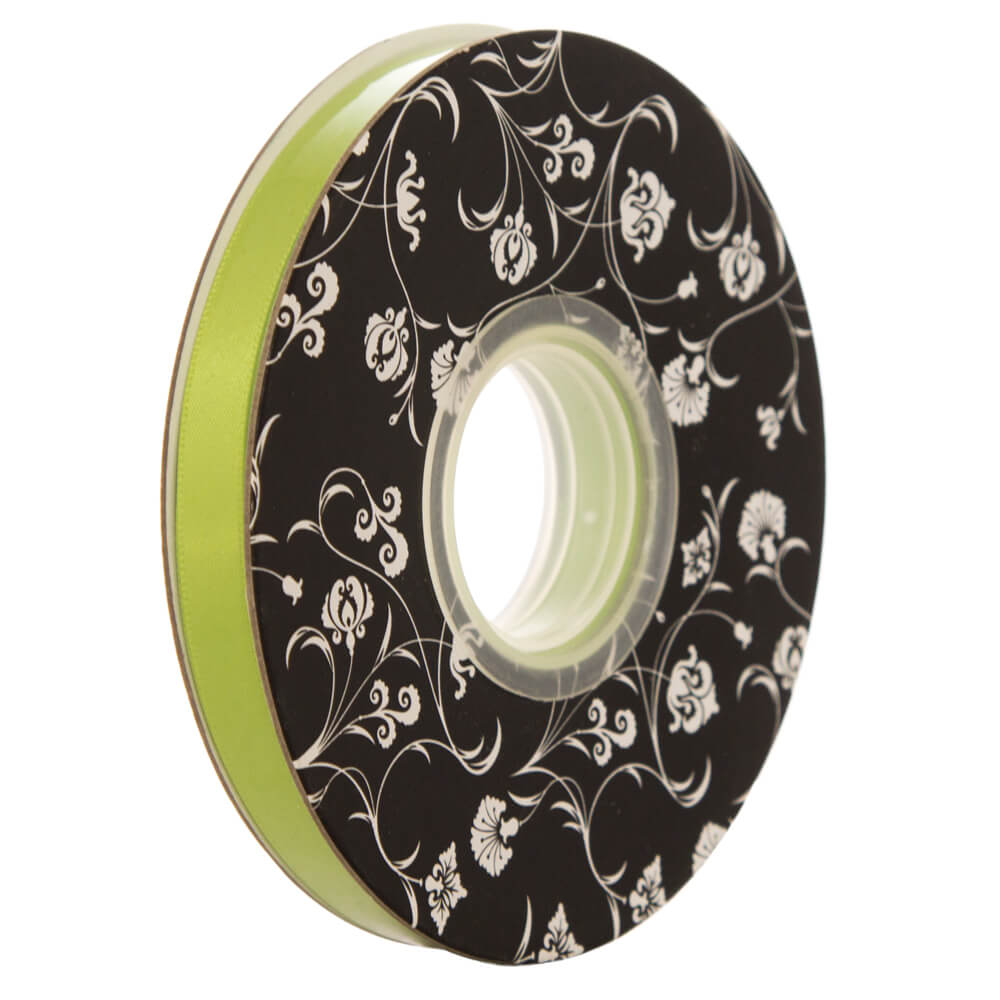 Double sided Satin Ribbon <br>Lime<br>10mm wide x 30m per roll