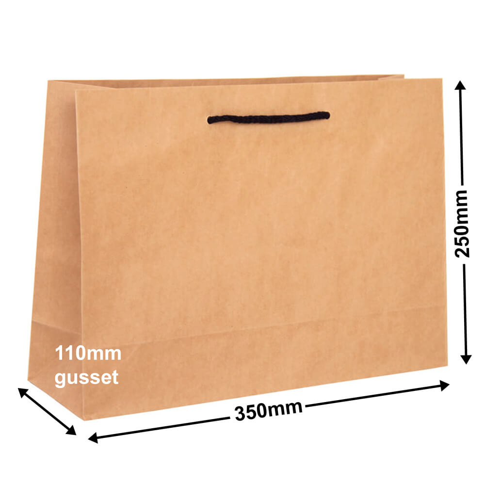 Brown Deluxe Paper Bags 50 pack 250mm x 350mm