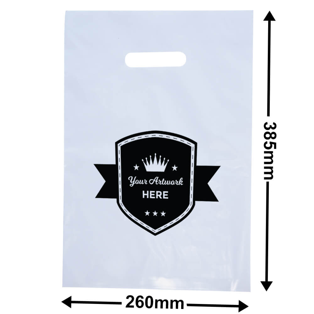 Medium White Plastic Carry Bag Printed 1 colour 2 side