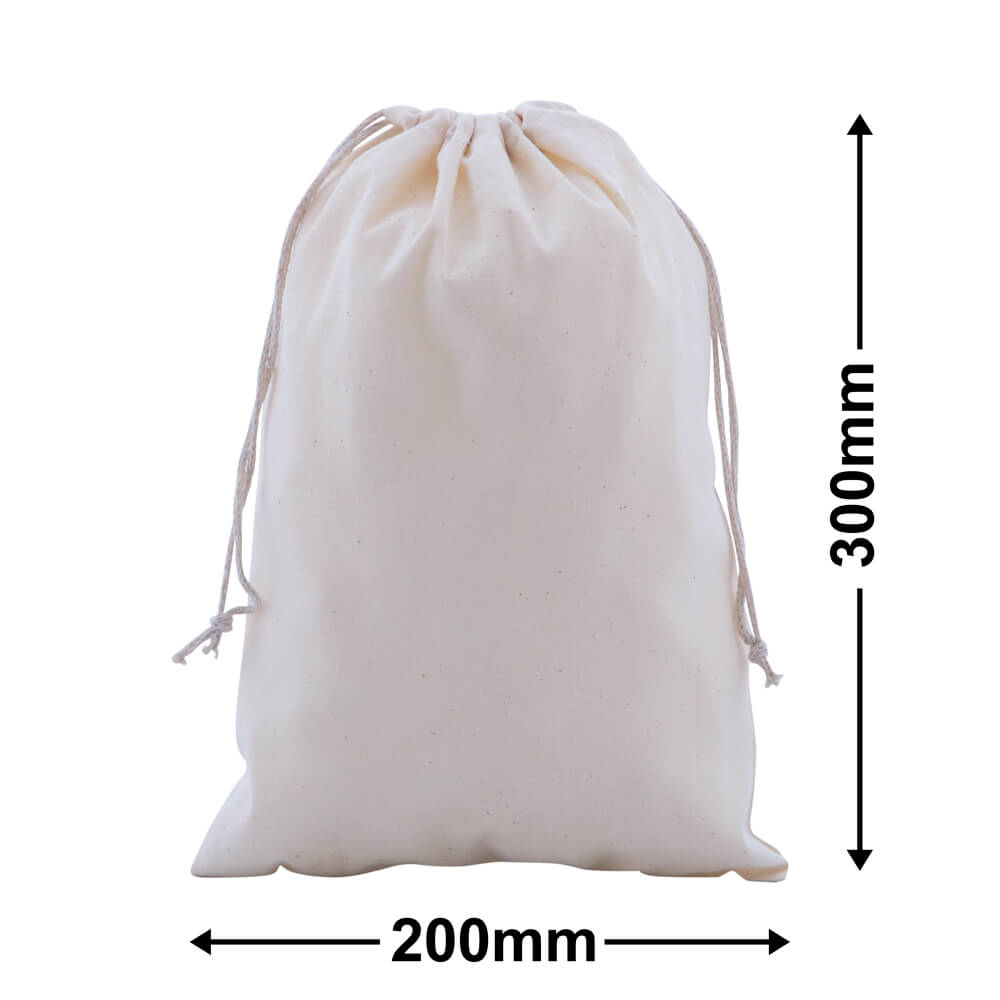 Calico Bags Drawstring 200mm x 300mm (PACK50)