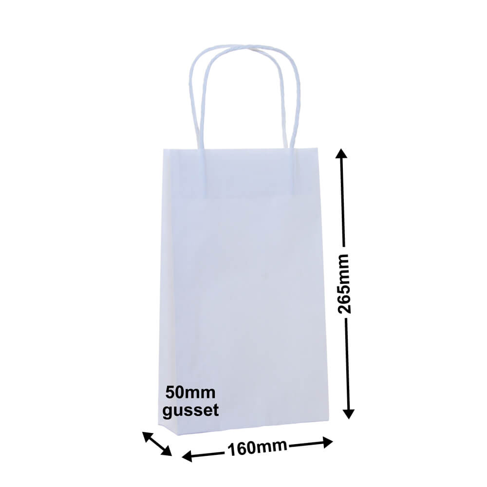 White Paper Carry bags 160x265+50 *Carton 500*