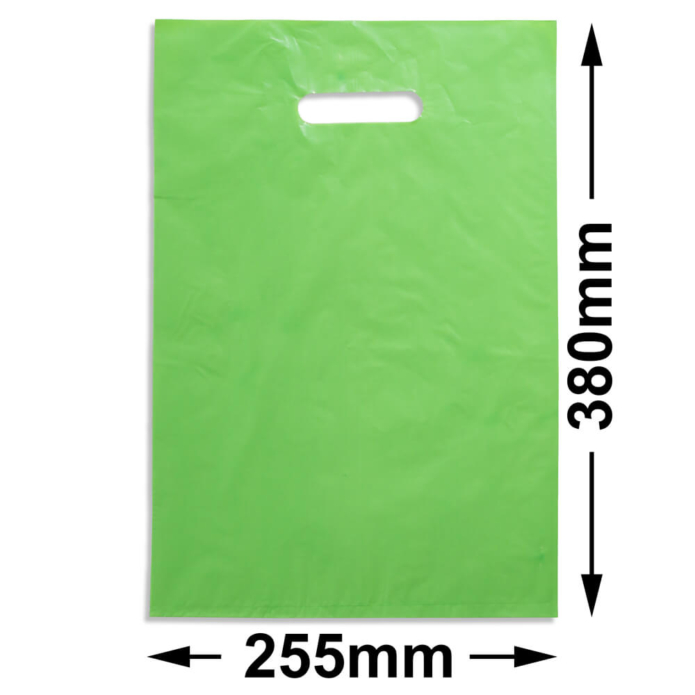 Medium Plastic Carry Bag<br>Lime 255 x 380 *Pack 100*