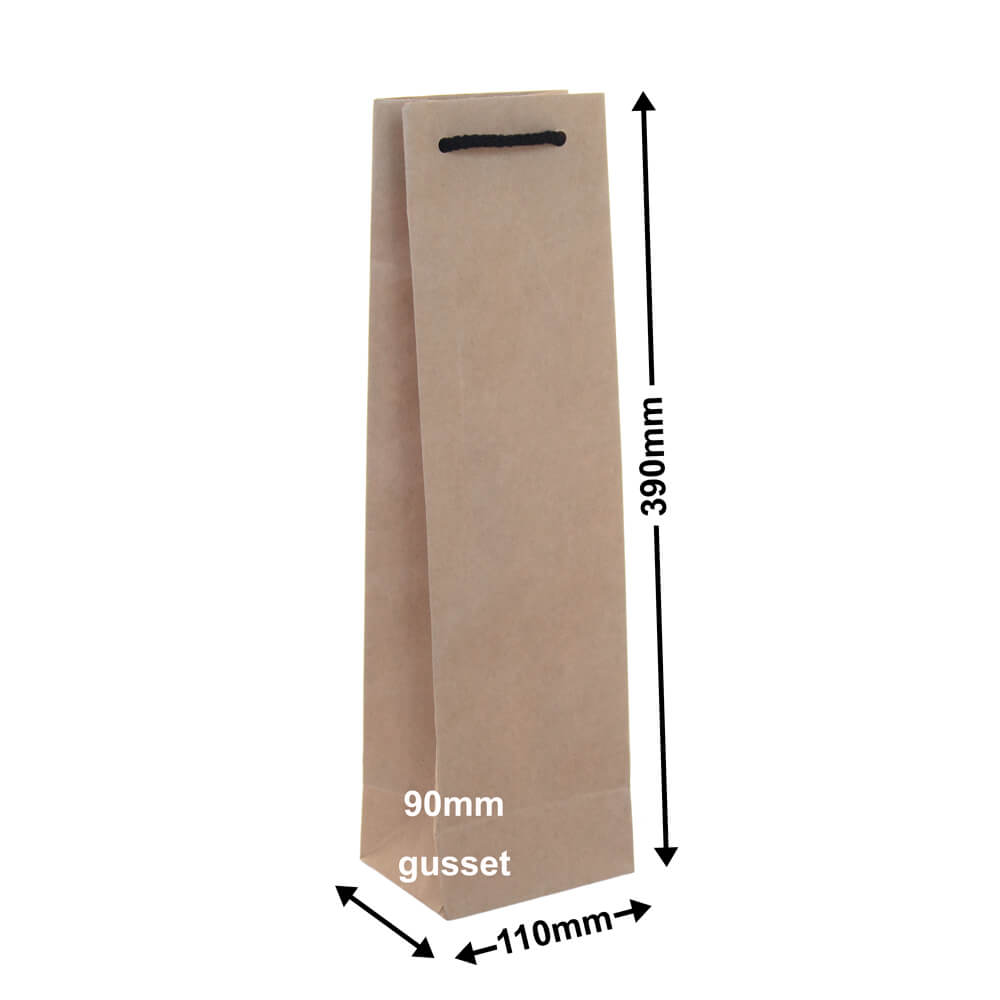 Single Kraft Paper Wine Bag 110mm x 390mm (PACK20)