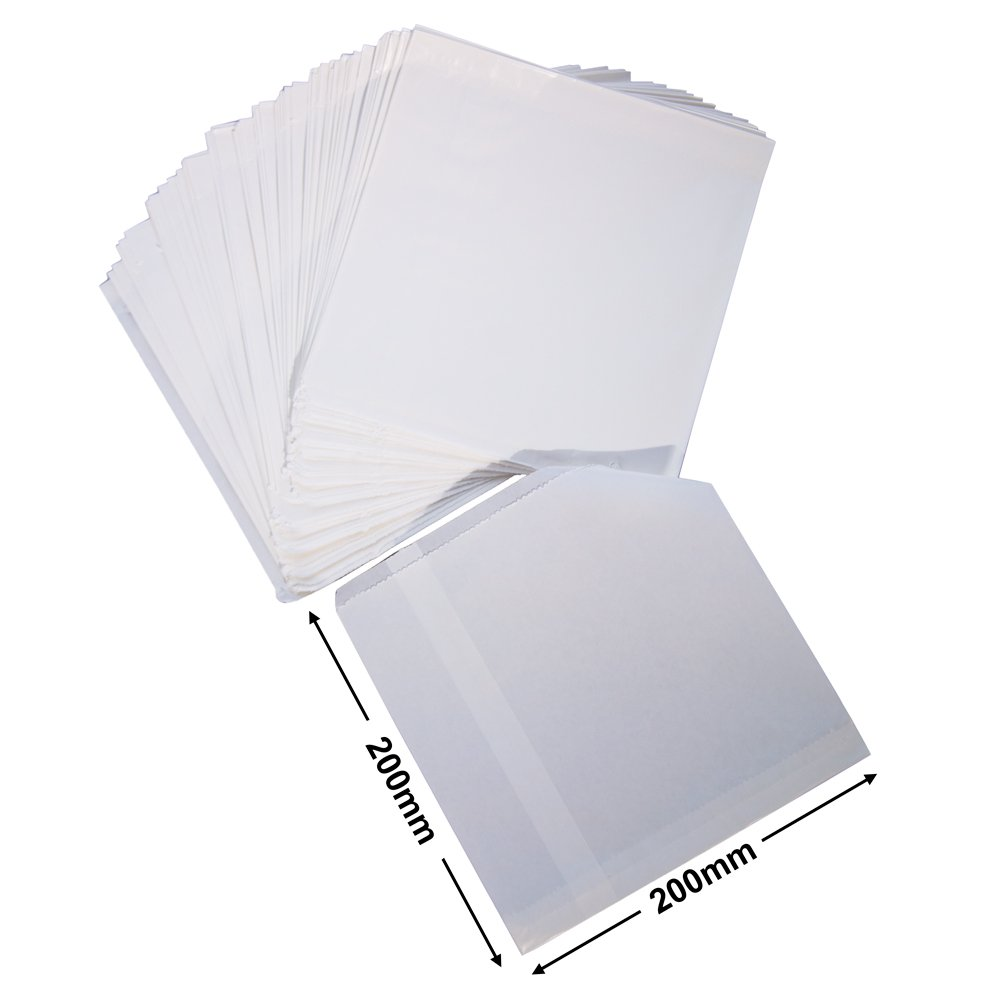 White Flat Glossy Paper Bags<br>195 x 200 *Packs 500*