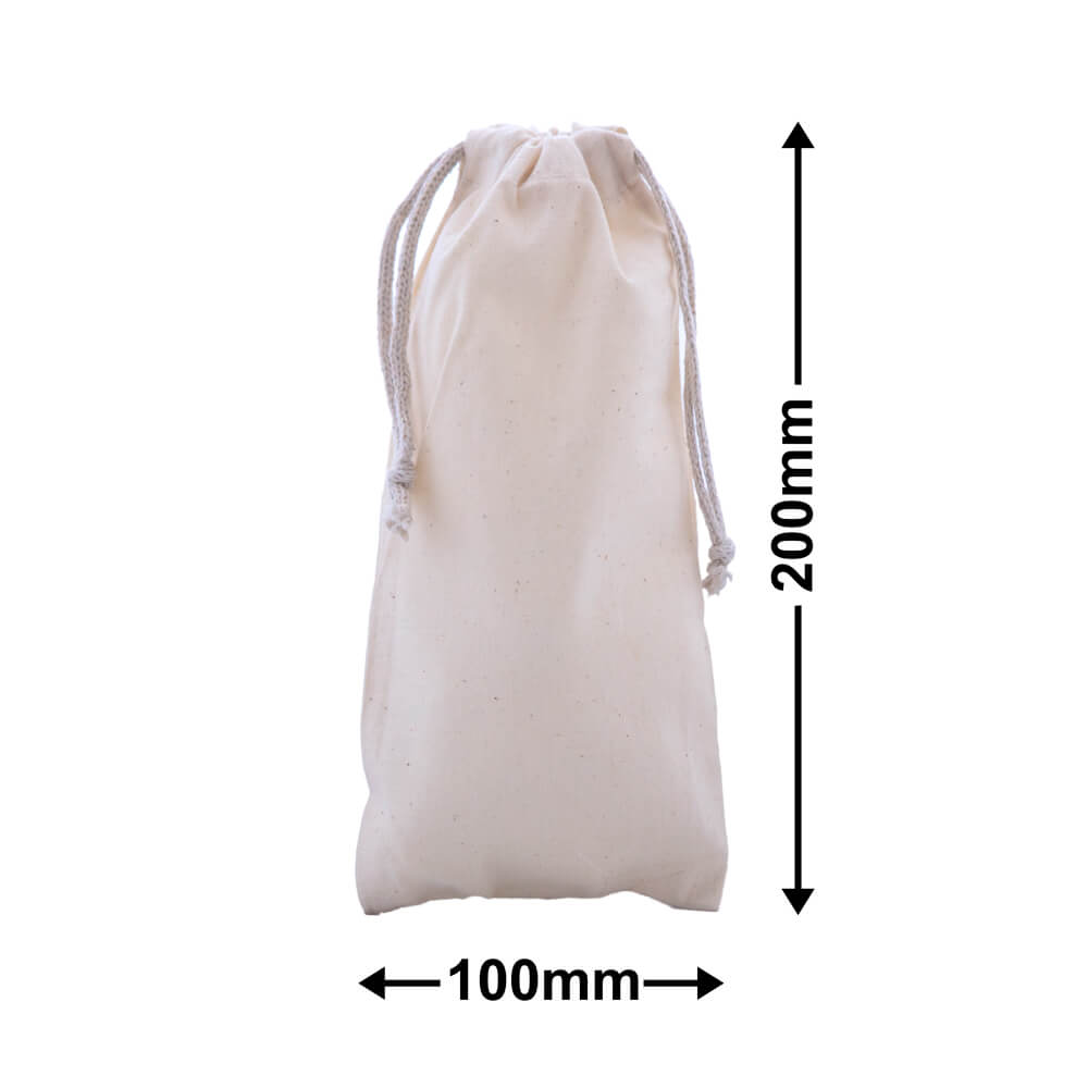 Calico Bags Drawstring 200mm x 100mm (PACK50)