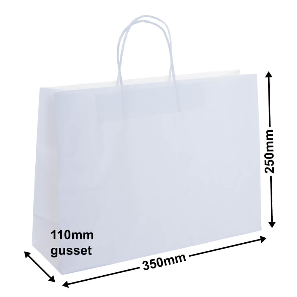White Paper Retail bags 350x250+110 *Pack 50*