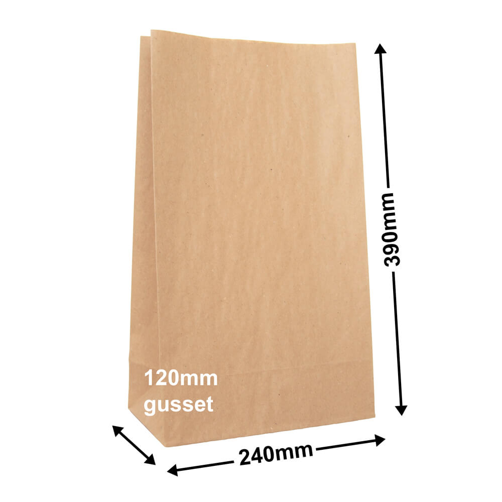 Brown Paper Grocery Bags<br>Size 4 240 x 390 *Carton 500*