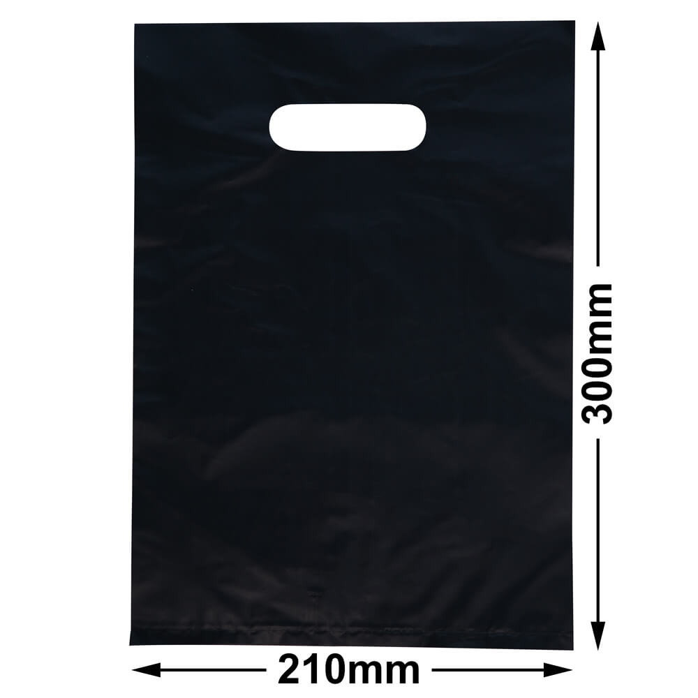 Small Plastic Carry Bag<br>Black 210 x 300 *Pack 100*