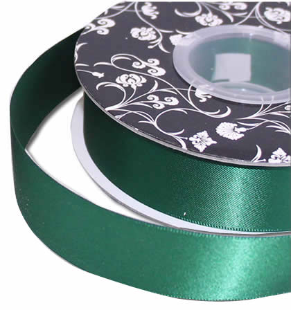 Double sided Satin Ribbon <br>Hunter Green<br>25mm wide x 30m per roll