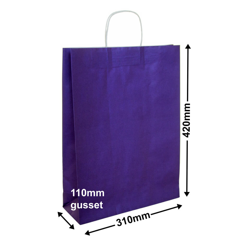 Paper Carry Bag Purple<br>310x420 + 110