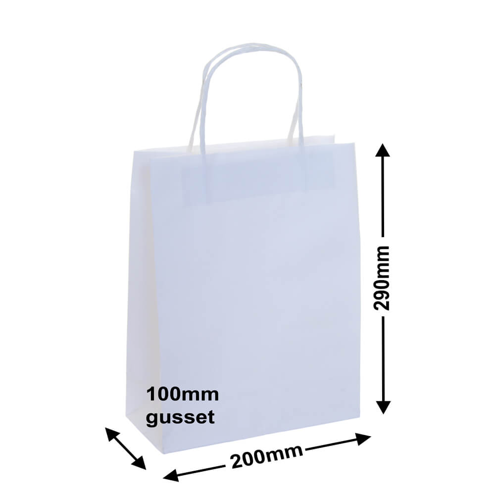 White Paper Retail bags 200x290+100 *Pack 50*