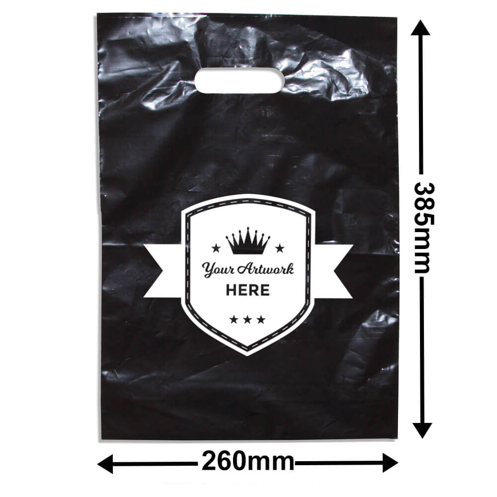 Medium Black Plastic Carry Bag Printed 1 colour 1 side
