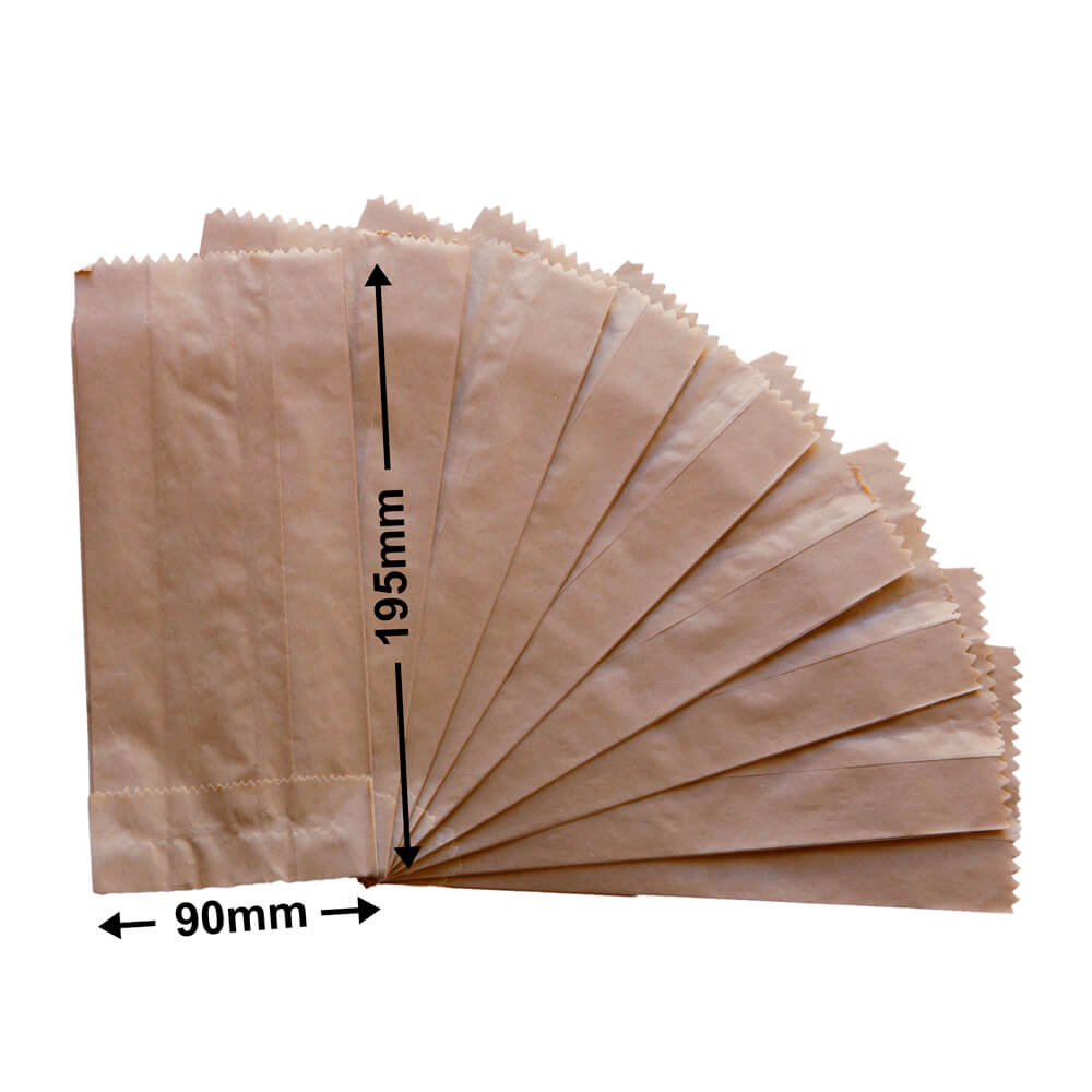 Flat Brown Paper Bags<br>195 x 90 + 50 *Pack 500*