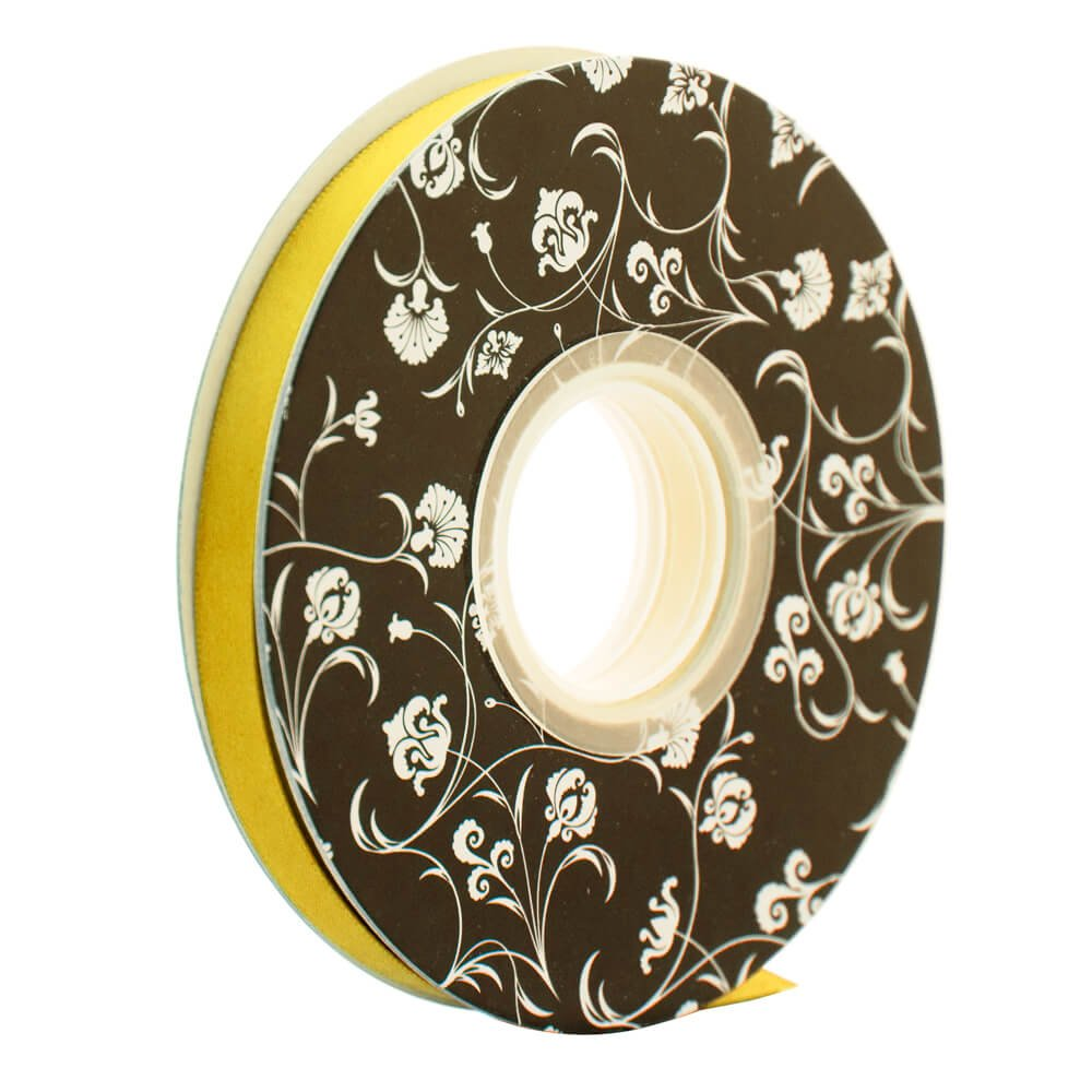 Double sided Satin Ribbon <br>Yellow<br>10mm wide x 30m per roll