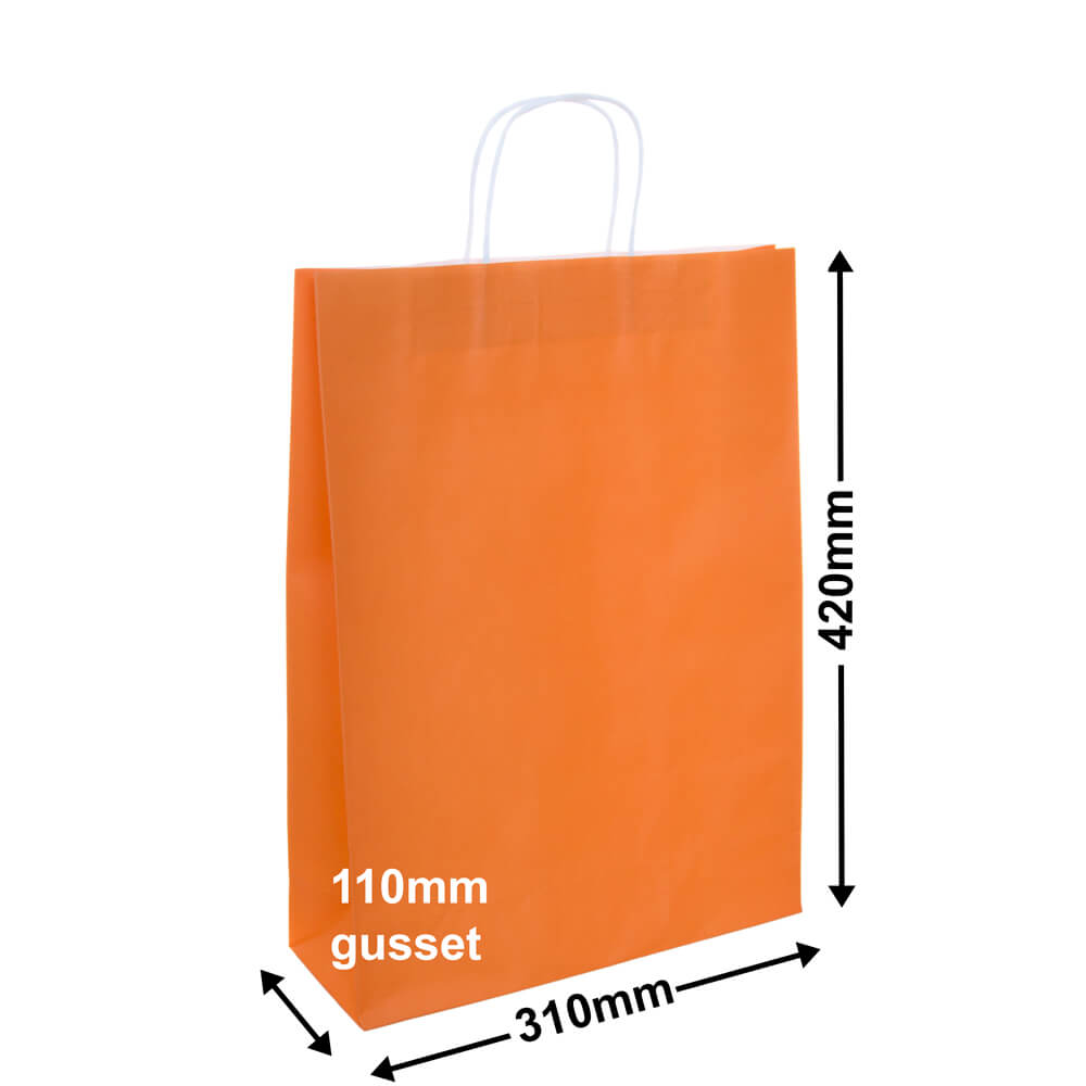 Paper Carry Bags Orange 310 x 420 + 110mm