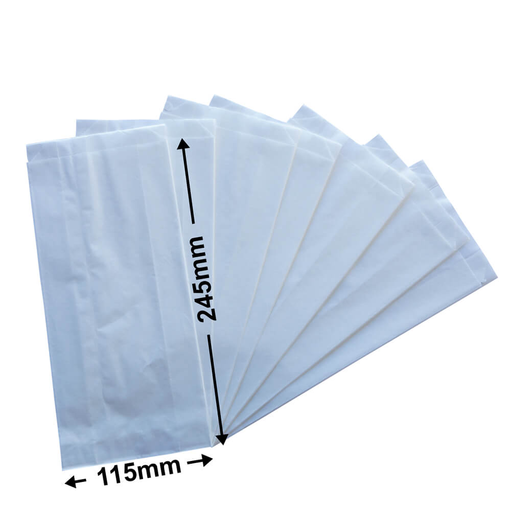 White Flat Paper Bags<br>245 x 115 + 50 *Packs 500*